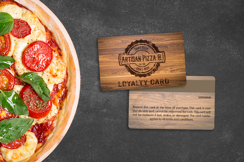 Pizza loyalty cards with mag stripe on the back
