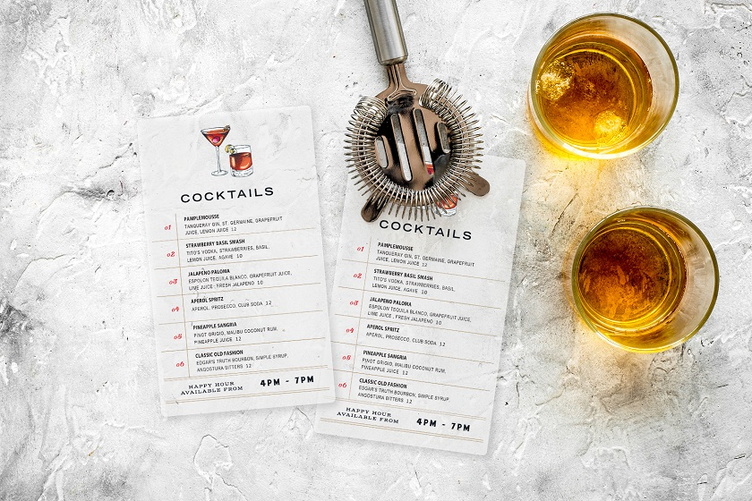 Plastic Transparent Menu for Custom Events