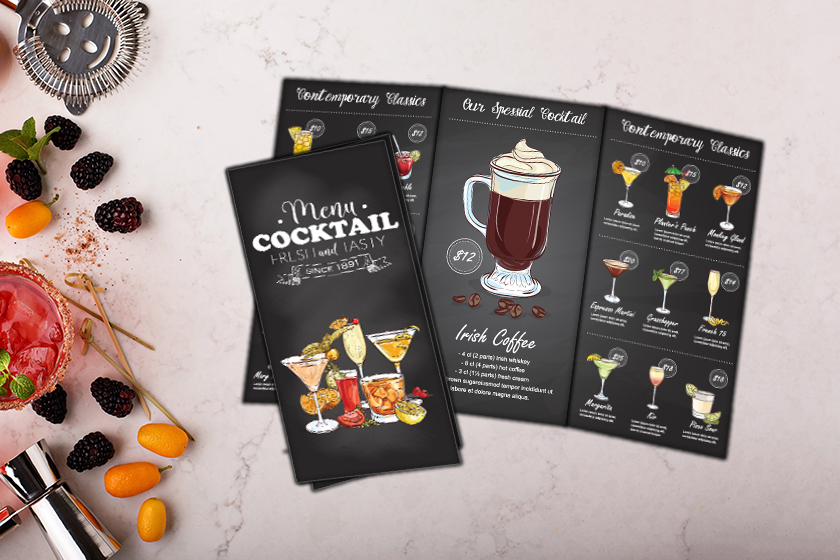 Custom printed tri fold restaurant menu