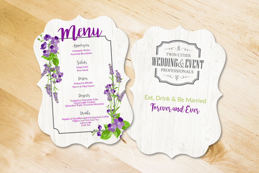 Die Cut Menu for Twin Cities Wedding and Event Professionals
