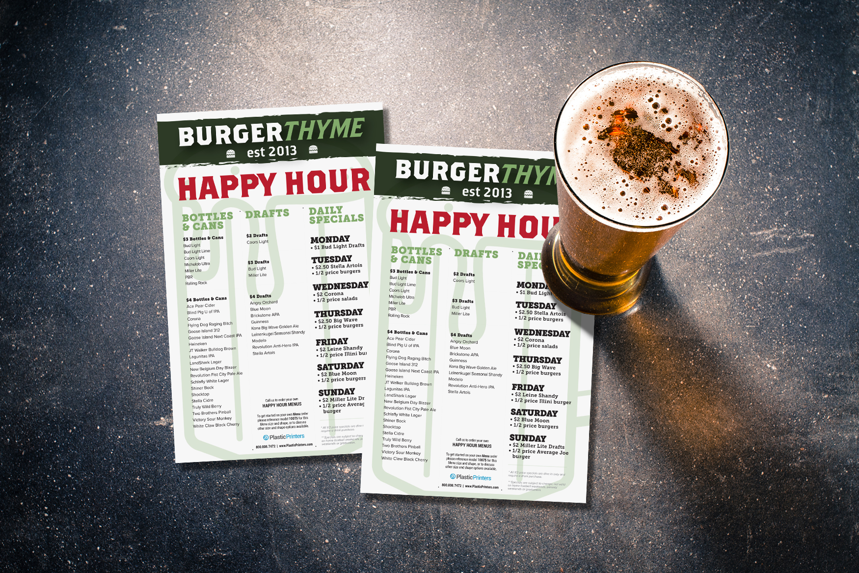 Happy Hour Menu Design for BurgerThyme