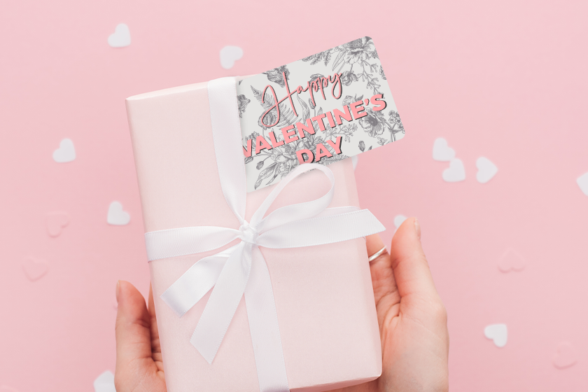 Plastic gift cards with a floral design