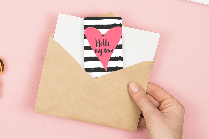 Custom plastic gift cards with a heart