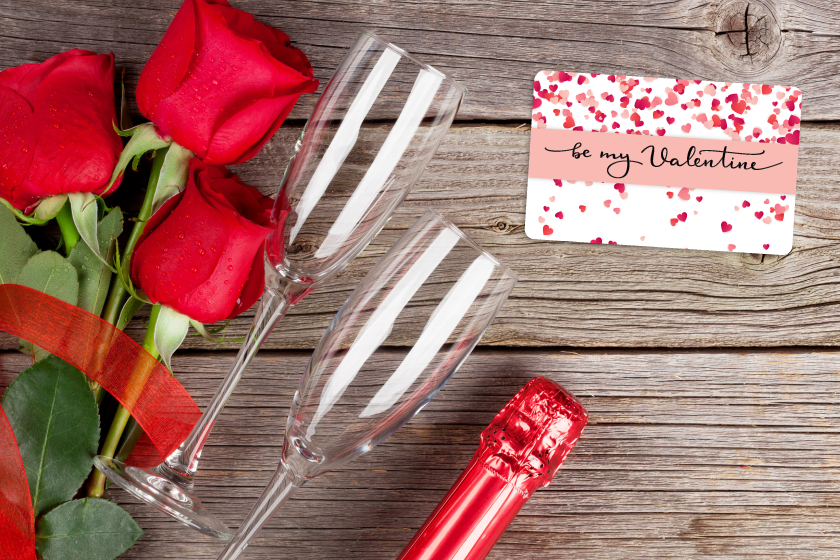 Gift card printing with a Valentine's Day design