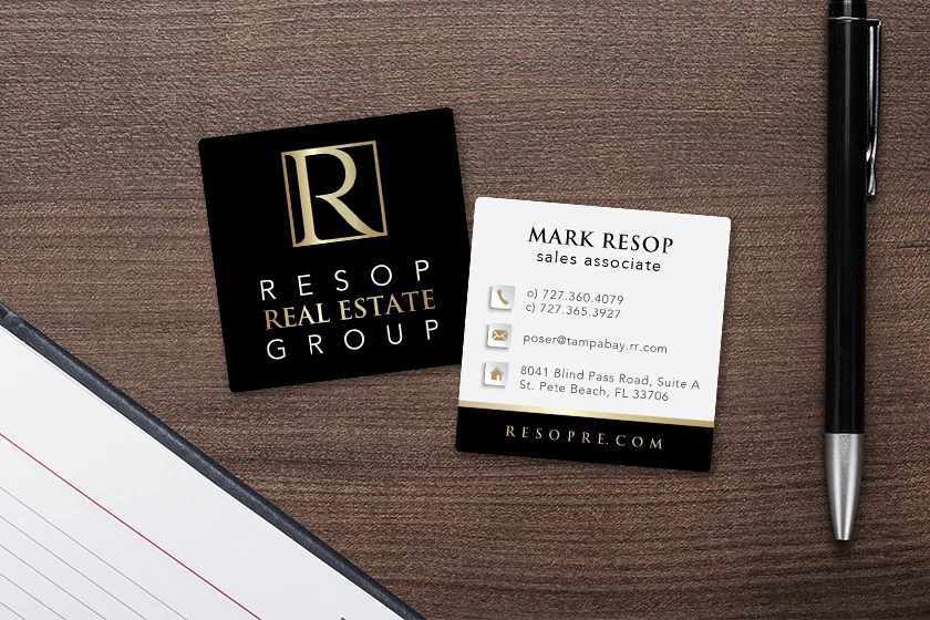 Square business cards for a real estate agent