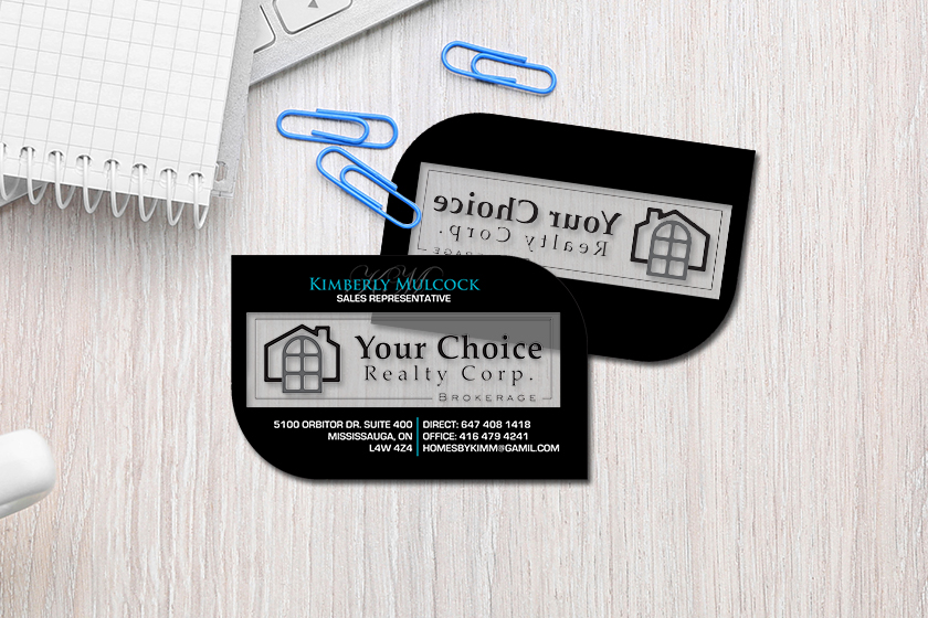 Realtor business cards with custom shape and clear features