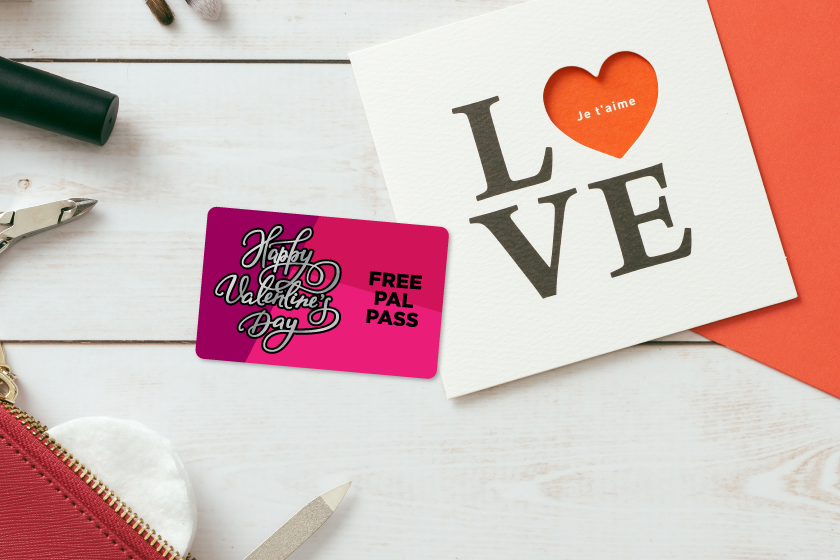 Promo cards with silver foil for Valentine's Day