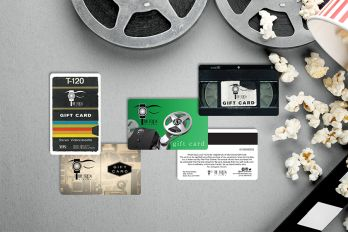 Movie theater gift cards with magnetic stripes